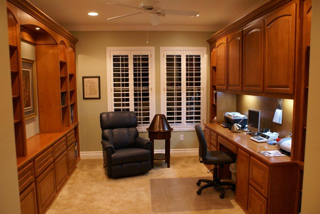 Stylish Home Office Desk And Bookshelf Custom Home Office Cabinets And Built In Desks