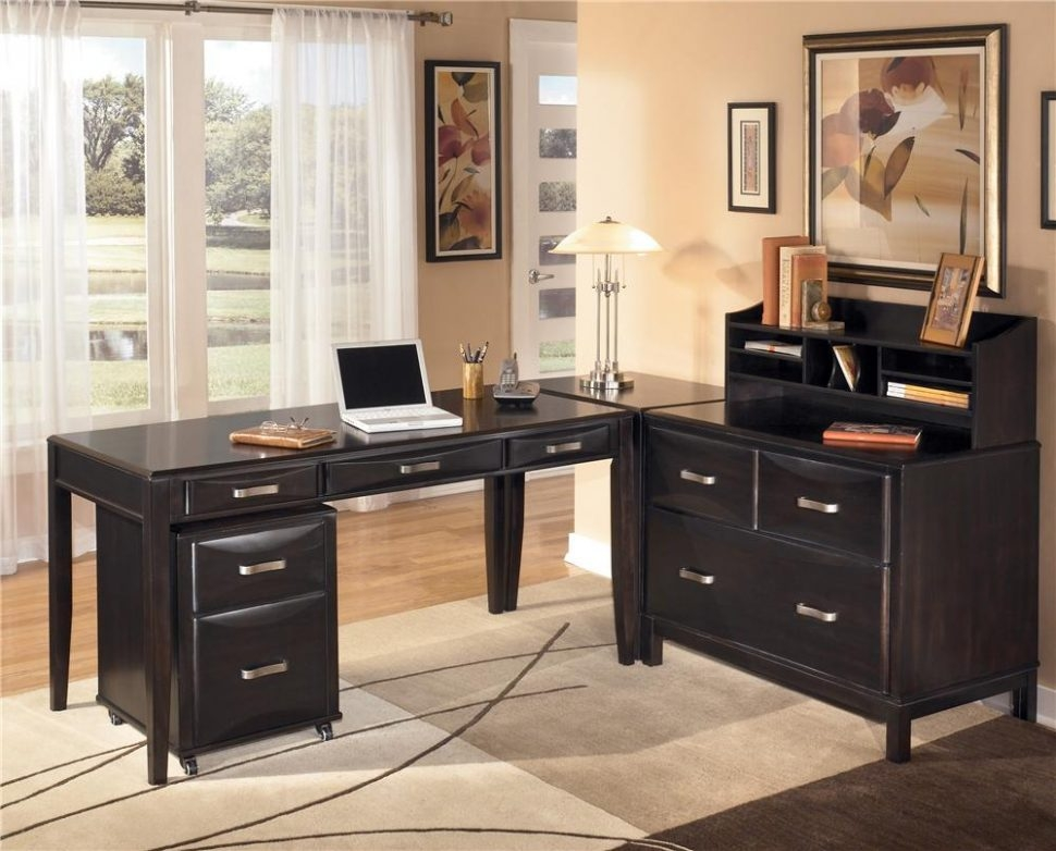 Stylish Home Office Desk And File Cabinet Endearing L Shaped Black Wooden Best Home Office Desk Chrome Stain