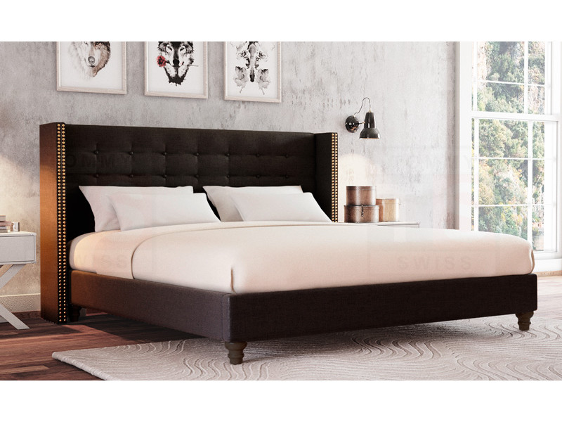Stylish King Size Bed Base King Size Fabric Studded Wing Bed Head Ensemble Base Mayfair