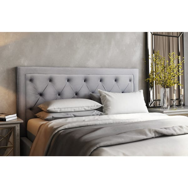 Stylish King Size Headboard And Frame Shop Nacht Metal And Grey Velvet Upholstery Diamond Button Tufted