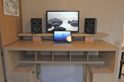 Stylish Large Desk With Storage Large Diy Standing Desk With Lots Of Storage Space Shelterness