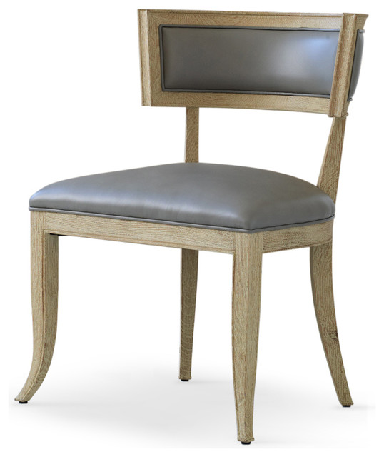 Stylish Leather Back Dining Chairs Minnelli Hollywood Regency Gray Leather Dining Chair