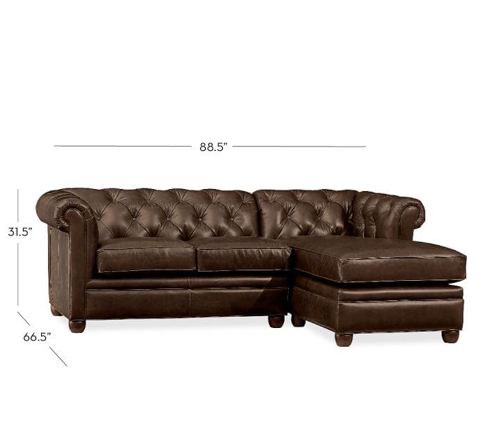 Stylish Leather Couch With Chaise Chesterfield Leather Sofa With Chaise Sectional Pottery Barn