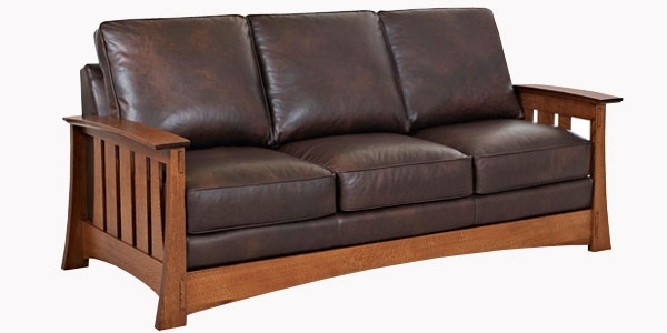 Stylish Leather Fold Out Couch Leather Craftsman Mission Style Queen Sleep Sofa Club Furniture