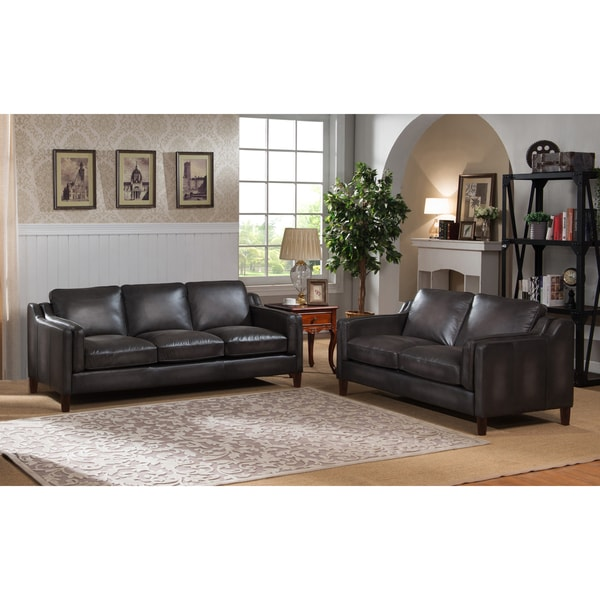 Stylish Leather Sofa And Loveseat Ames Premium Hand Rubbed Grey Top Grain Leather Sofa And Loveseat