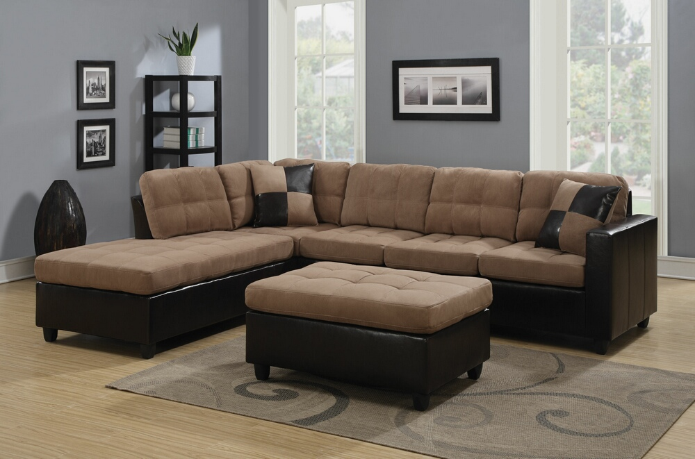 Stylish Microfiber Leather Sectional Sofa 2 Pc Mallory Collection 2