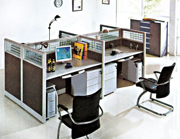 Stylish Office Workstation Computer Flyfashion Modern Office 4 Seat Staff Computer Workstation