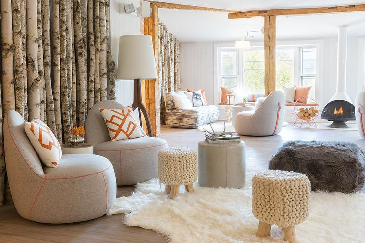 Stylish Patterned Chairs Living Room Modern Cabin Living Room With Gray Chairs And Orange Pillows
