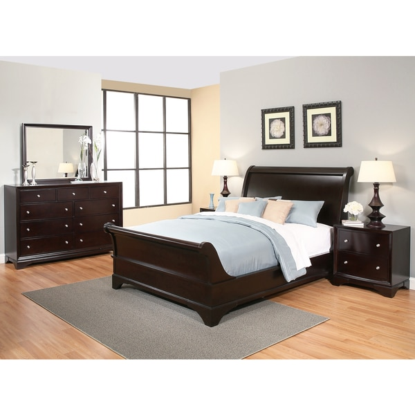 Stylish Queen Size Bed Sets Abson Kingston 5 Piece Espresso Sleigh Queen Size Bedroom Set