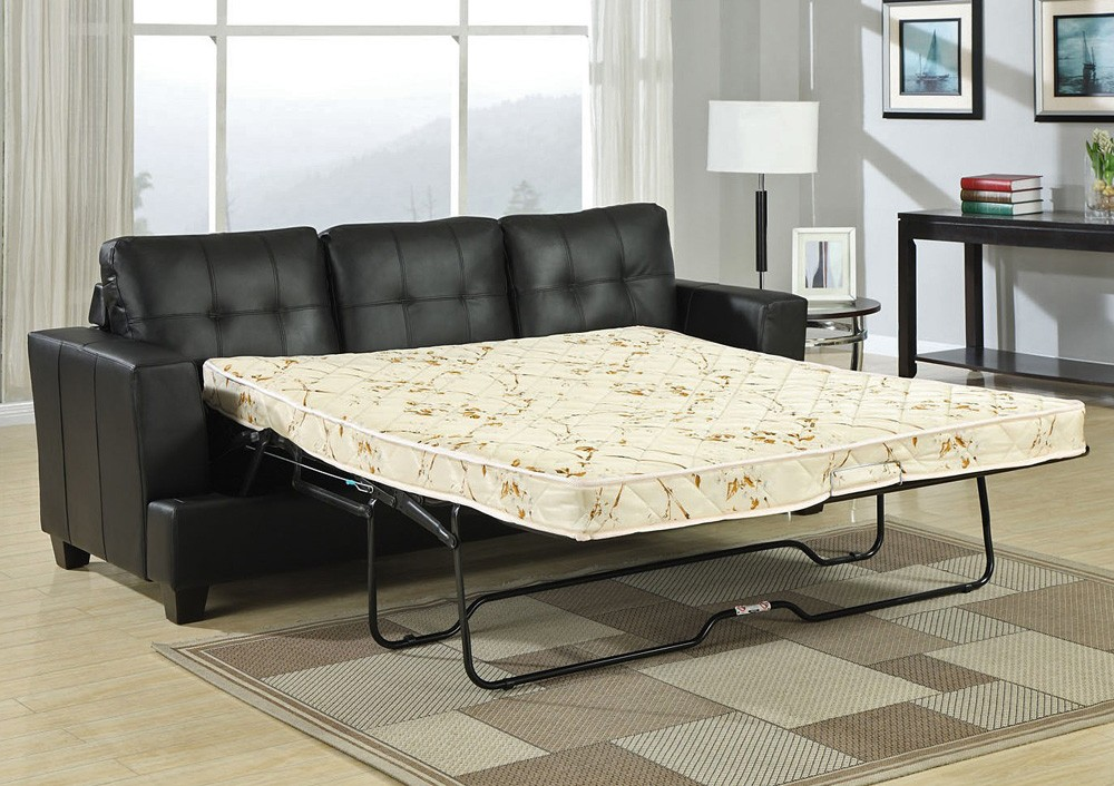 Stylish Queen Size Couch Bed Diamond Black Leather Sofa Bed
