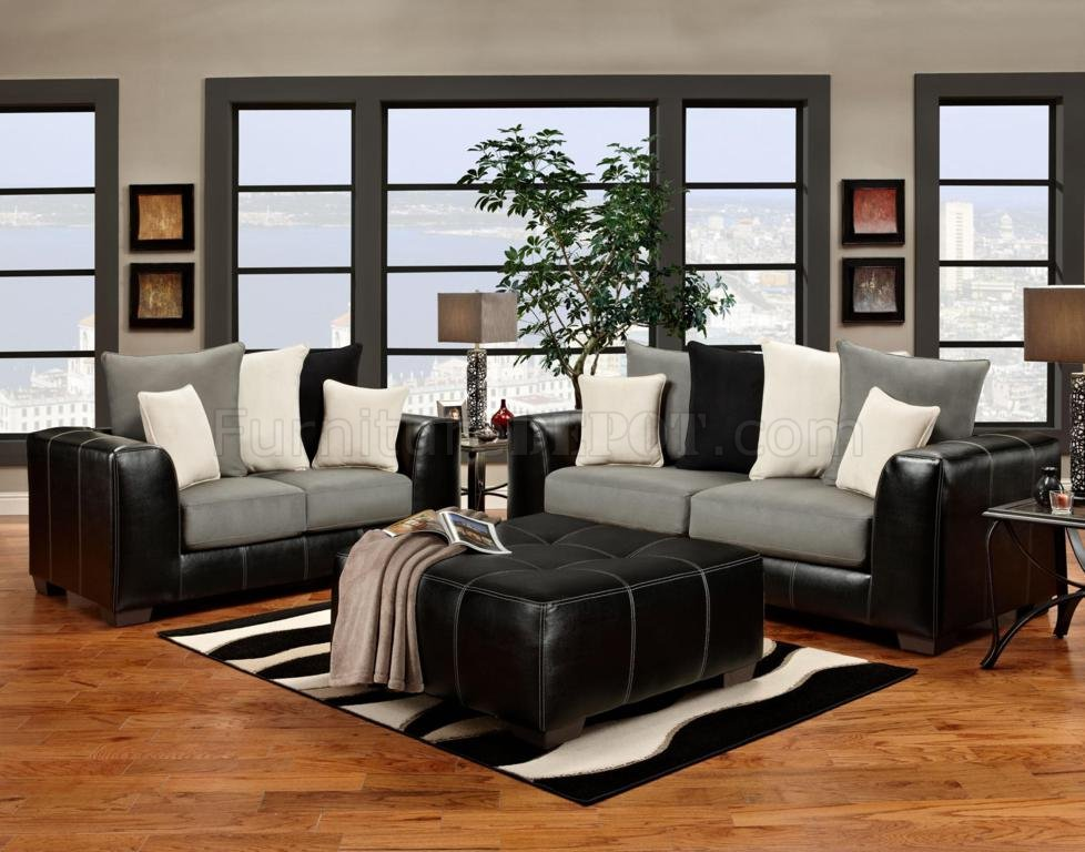 Stylish Sofa Loveseat And Ottoman Set Black Vinyl Grey Fabric Modern Sofa And Loveseat Set Woptions
