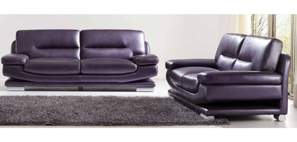 Stylish Sofa Loveseat Chair Sets 2757 Modern Full Italian Purple Leather Living Room Set