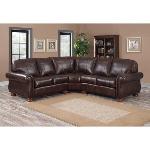 Stylish Three Piece Sectional Couch Melrose Dark Brown Italian Leather Three Piece Sectional Sofa