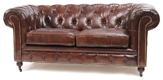 Stylish Top Grain Leather Sofa London Vintage Top Grain Leather Chesterfield Sofa Traditional