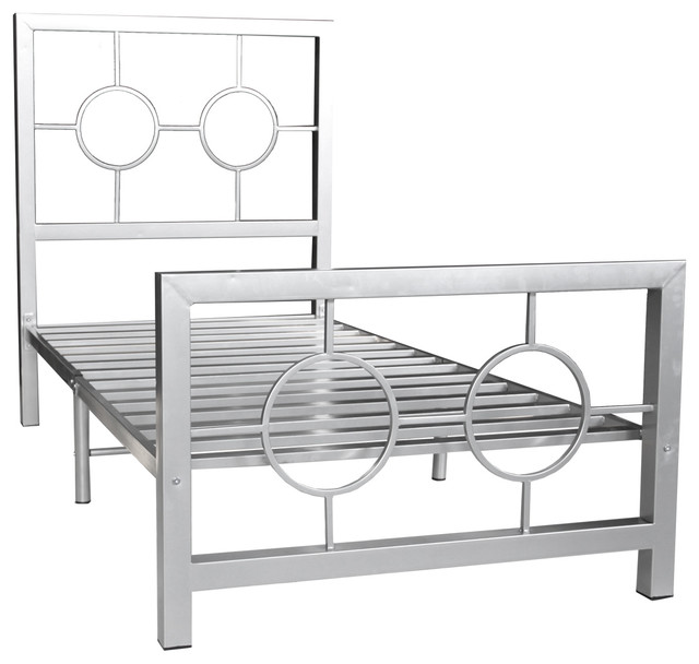 Stylish Twin Metal Bed Frame Eternity Metal Bed Frame Twin Circle Design Contemporary