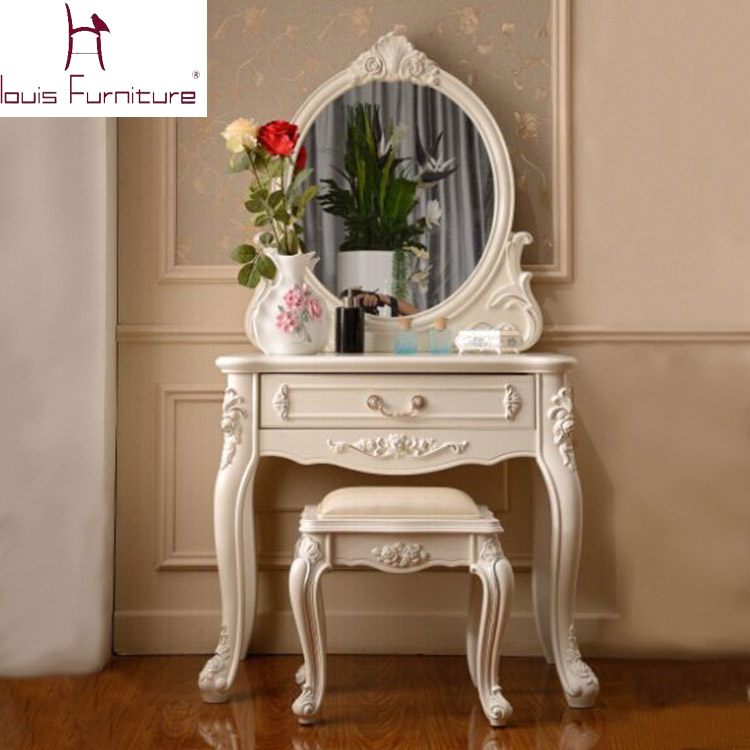 Stylish Vanity Sets With Mirror And Bench France Style Elegant Bedroom Furniture Ivory Dressing Table With