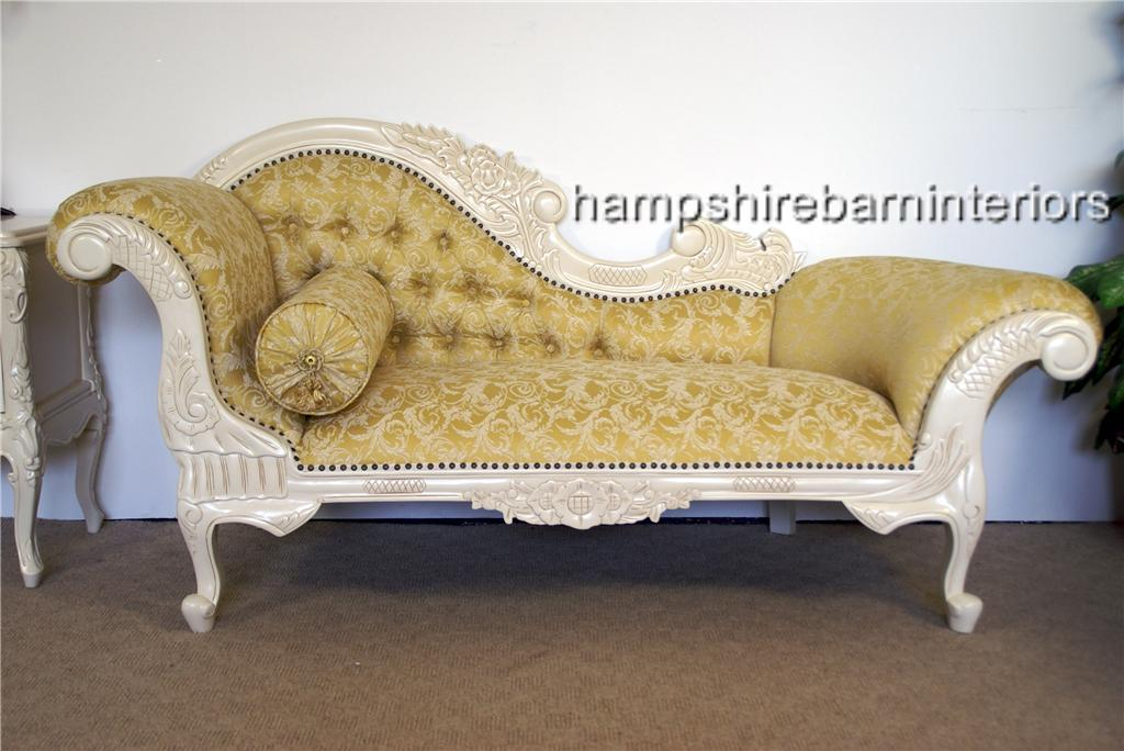 Stylish White And Gold Chaise Lounge Hampshire Chaise Longue In Antique White And Gold Fabric