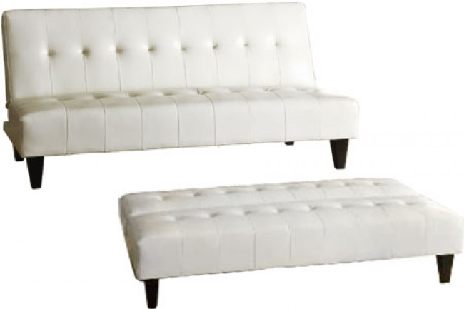 Stylish White Leather Futon Sofa Futon Couch Sleeper White Rockaway White The Futon Shop