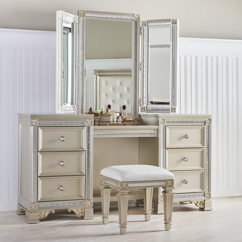 Stylish White Vanity With Mirror Fairfax Home Collections Tiffany Vanity With Mirror Reviews