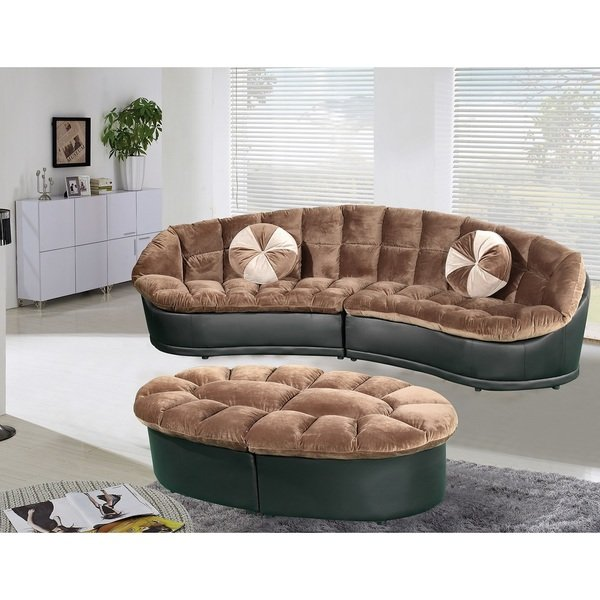 Unique 2 Piece Sectional Couch Shop Papasan Modern Style Velvet 2 Piece Sectional Sofa With Ottoman