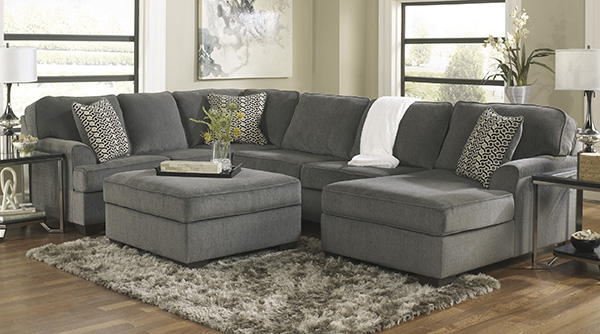 Unique Ashley Furniture Chenille Sofa Loric Smoke Cuddler Sectional Ashley Furniture