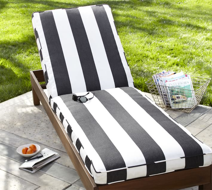 Unique Black And White Chaise Lounge Sunbrella Piped Outdoor Chaise Cushion Stripe Pottery Barn