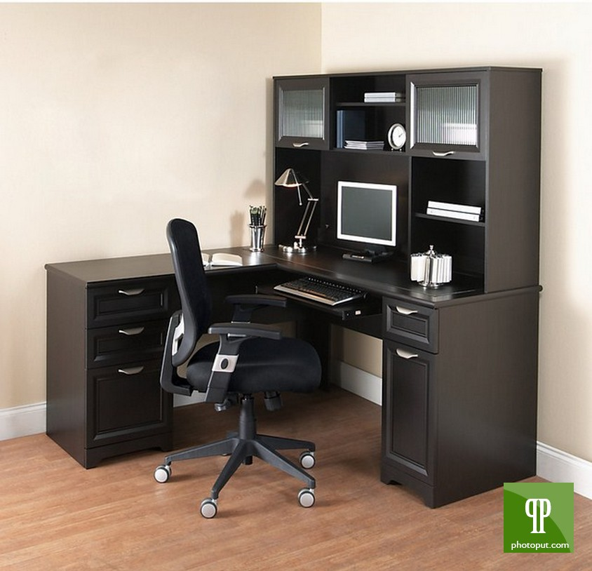 Unique Black L Shaped Desk Furniture Black L Shaped Desk With Hutch Plus Storage And