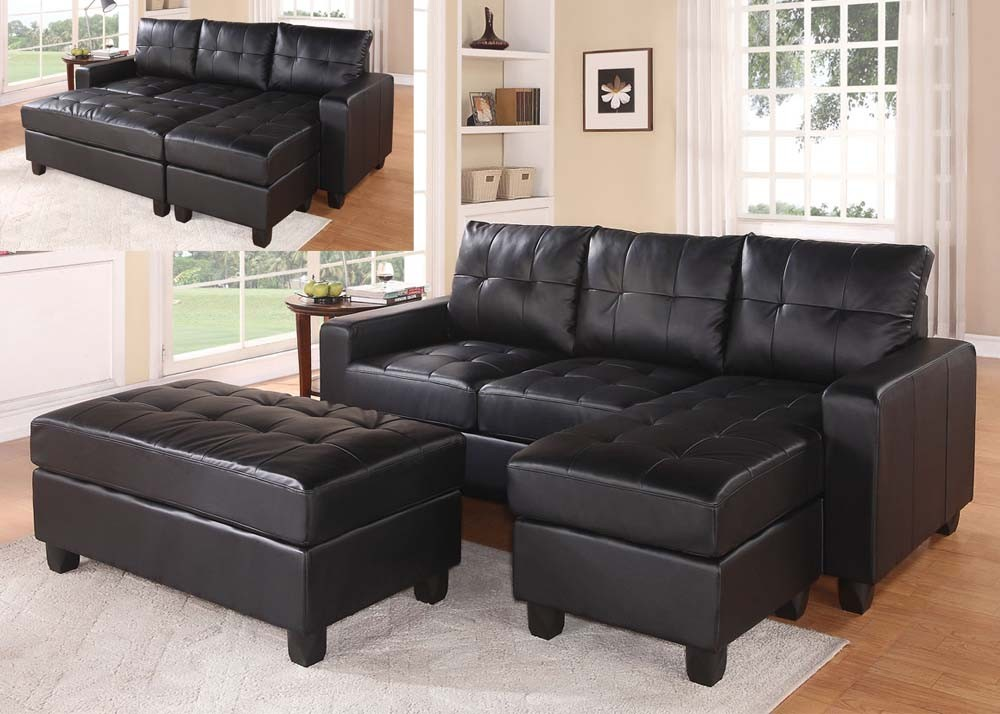 Unique Black Sectional Sofa With Chaise Black Faux Leather Sectional Sofa With Reversible Chaise And