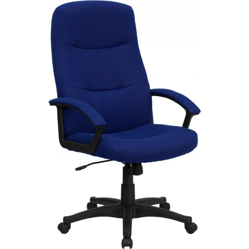 Unique Blue Office Chair Furniture High Back Navy Blue Fabric Executive Swivel Office Chair