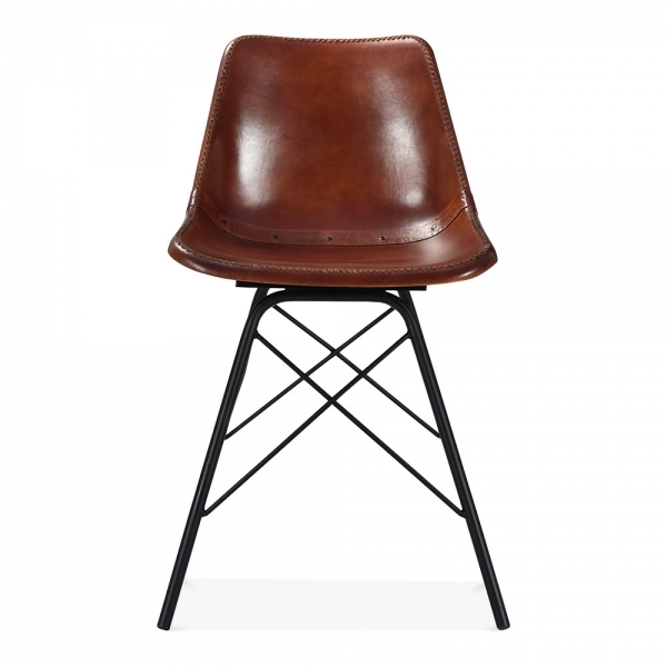 Unique Brown Leather Kitchen Chairs Brown Leather Dexter Metal Dining Chair Industrial Kitchen Chairs
