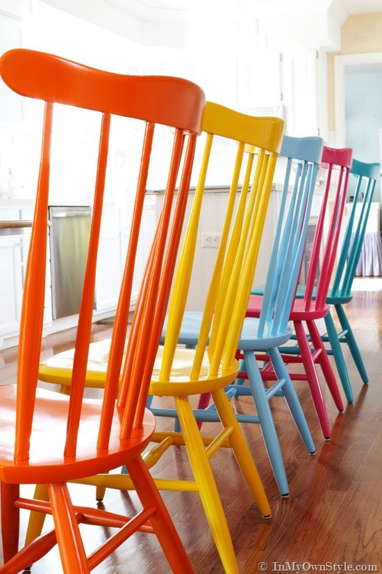 Unique Colorful Kitchen Chairs Furniture Makeover Spray Painting Wood Chairs In My Own Style