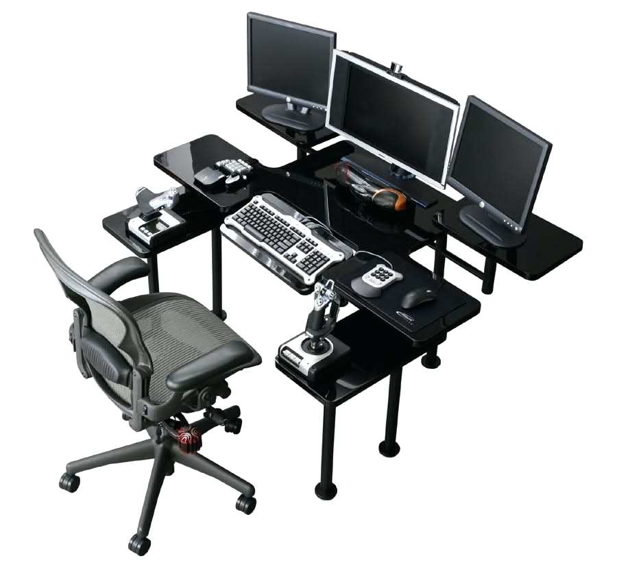 Unique Computer Desk For Three Monitors Desk Desk For Three Monitors Great Gaming Computer Desk With 3
