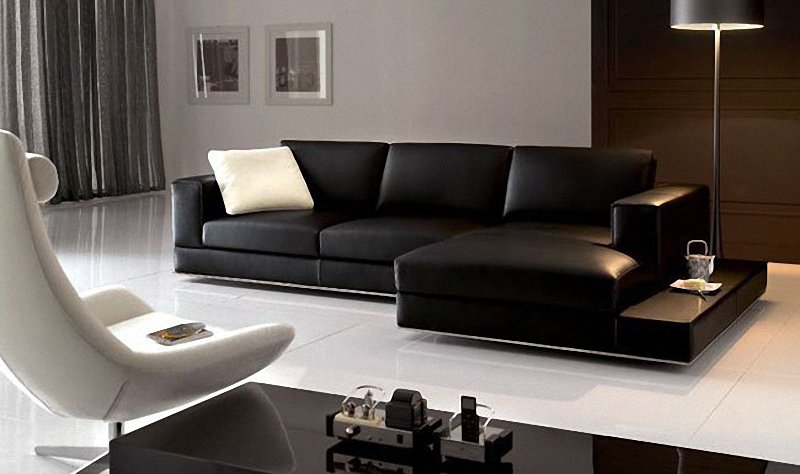 Unique Contemporary Black Leather Sofa Contemporary Black Leather ...