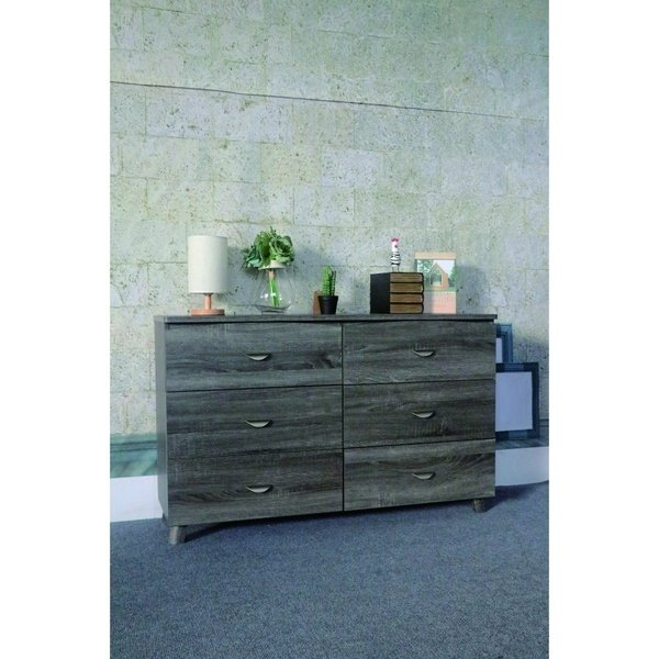 Unique Dresser 52 Inches Wide Shop Spacious Dresser With Six Storage Drawers On Metal Glides Gray