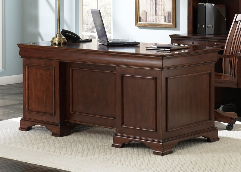 Unique Executive Desks For Home Office Louis Jr Executive 5 Piece Home Office Set In Deep Cherry Finish