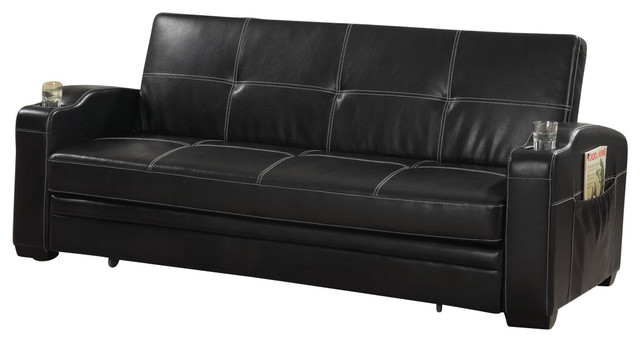 Unique Faux Leather Futon Couch Faux Leather Sofa Bed Sleeper Lounger With Storage Cup Holders Pop