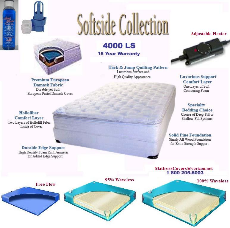 Unique Full Motion Waterbed Mattress King Softside Waterbed With Organic Cotton Pillow Top