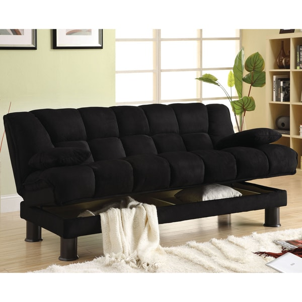 Unique Futon Sofa Bed With Storage Shop Furniture Of America Black Elephant Skin Microfiber Futon