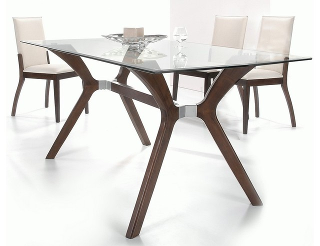 Unique Glass Top Modern Dining Table Dining Room Glass And Wood Dining Tables On Dining Room Pertaining