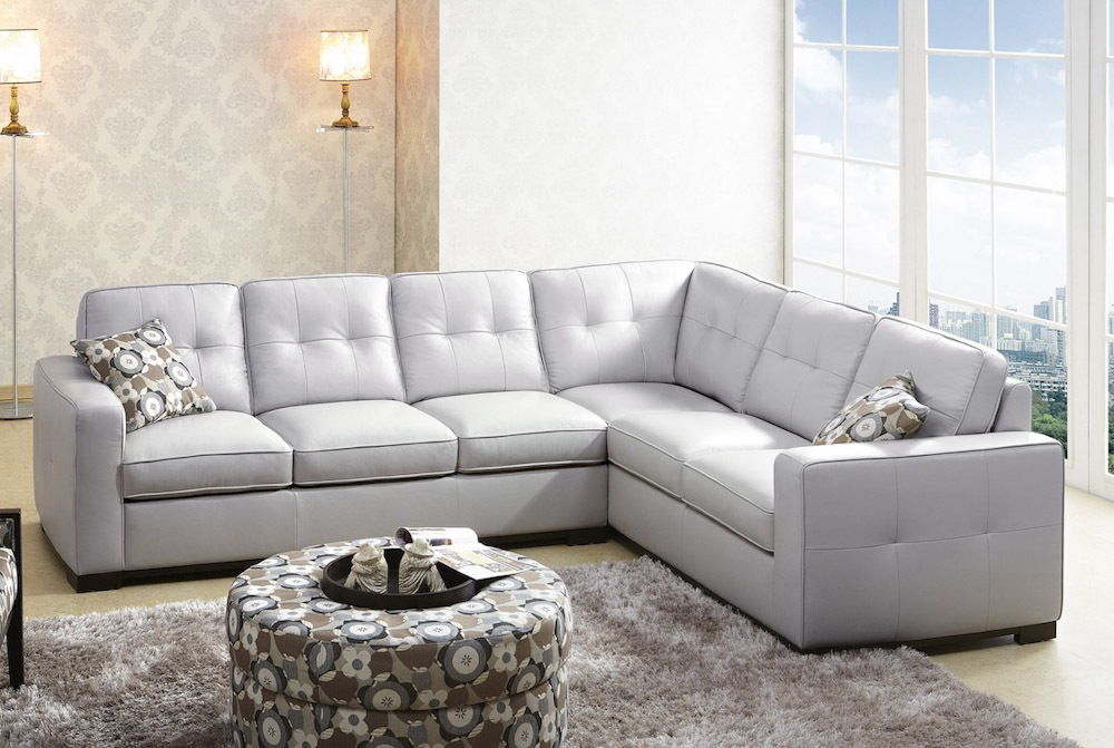 Unique Grey Microfiber Sectional With Chaise Gray Leather Sectional 1717 Leather Sectional Sofa In Light Grey