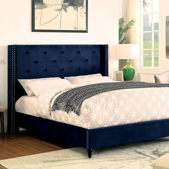 Unique Headboard And Frame Set Cm7677nv Anabelle Collection Navy Blue Fabric Upholstered And Tufted
