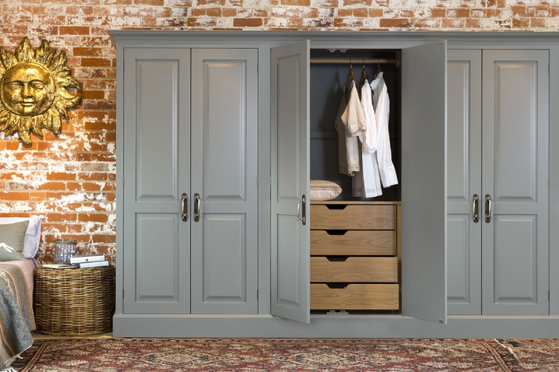 Unique Large Wardrobes Bedroom Furniture Grey Finishing Built In Wardrobe With Wooden Unfinished Drawer For