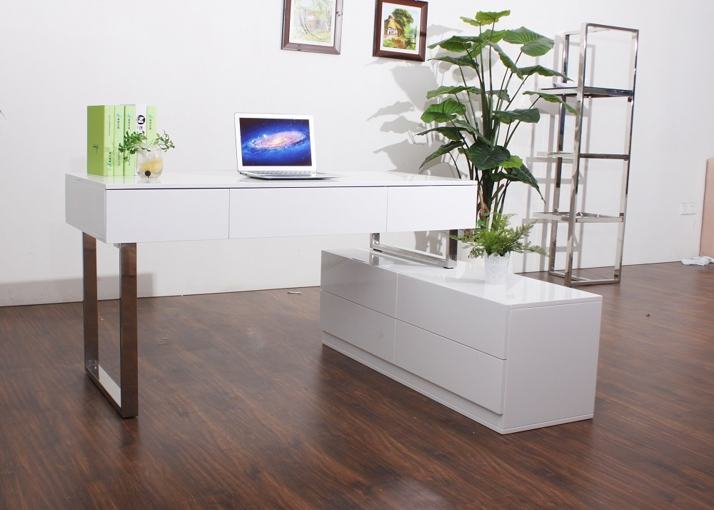 Unique Office Desk With Shelves Kd12 Contemporary Office Desk With Storage Cabinet Left Facing