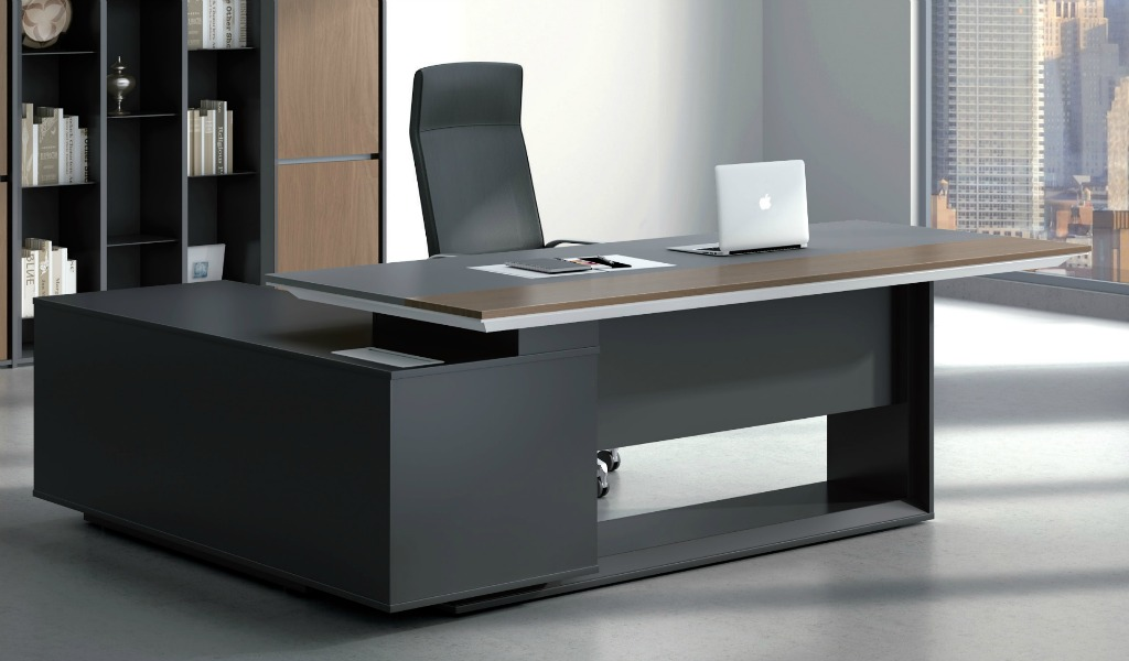 Unique Office Table Furniture Stylish Larry Office Table In Wood Leather Bosss Cabin