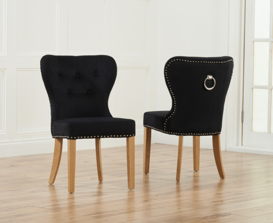 Unique Pair Of Dining Chairs Knightsbridge Studded Grey Fabric Oak Leg Dining Chairs Pair