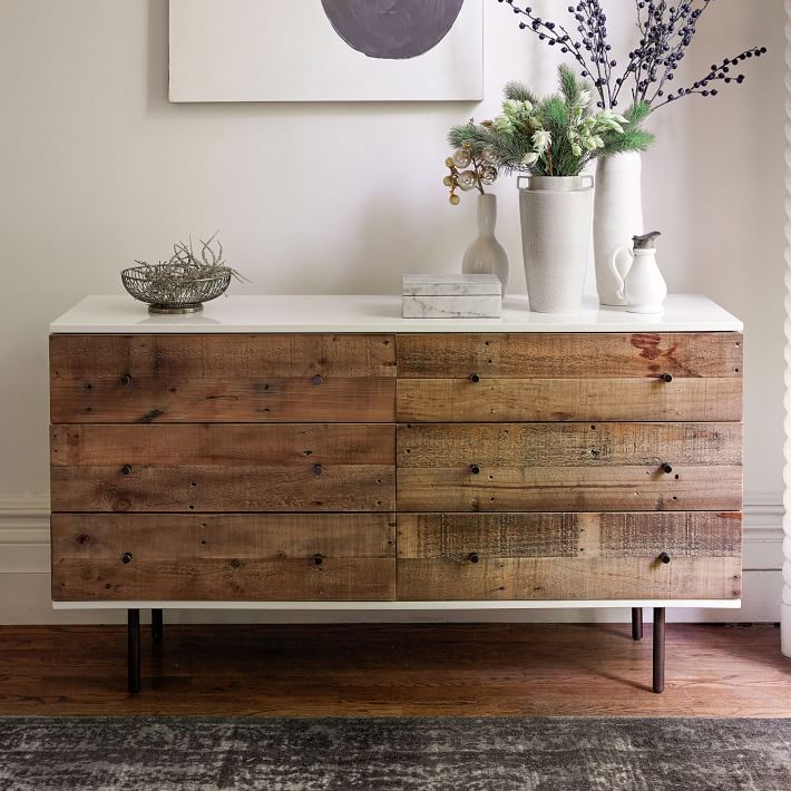 Unique Pine 6 Drawer Dresser Reclaimed Wood Lacquer 6 Drawer Dresser West Elm