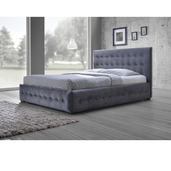 Unique Platform Bed With Upholstered Headboard Baxton Studio Pittman Contemporary Grey Fabric Upholstered