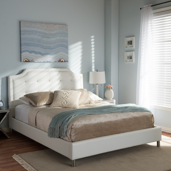 Unique Platform Bed With Upholstered Headboard Carlotta White Modern Bed With Upholstered Headboard Free