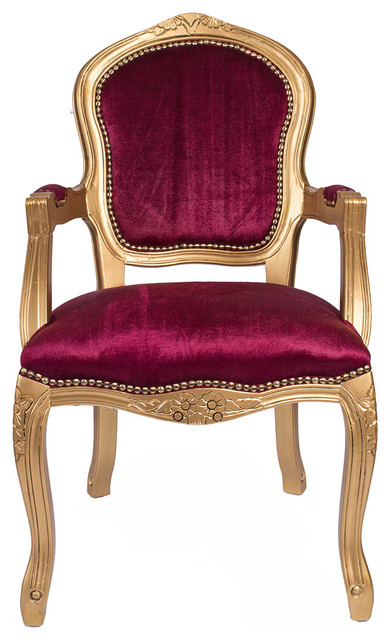 Unique Red And Gold Accent Chairs Gold French Louis Armchair Red Velvet Traditional Armchairs
