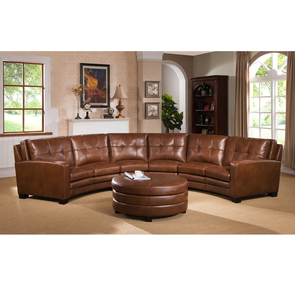 Unique Sectional Sofa With Ottoman Meadows Brown Curved Top Grain Leather Sectional Sofa And Ottoman